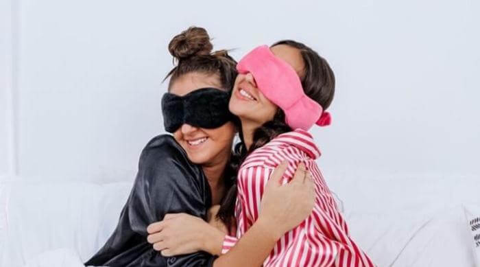 Instagram @nodpofoffivial women wearing nodpod sleep masks