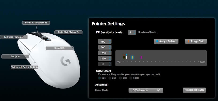 Logitech Gaming Software: Mouse settings