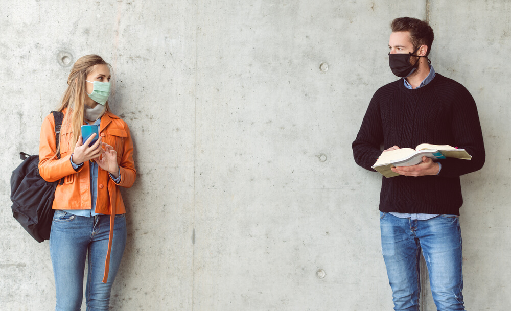 boy and girl at school wearing face masks