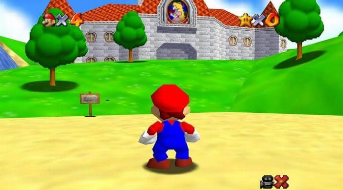 Super Mario 64: Mario outside Peach's castle
