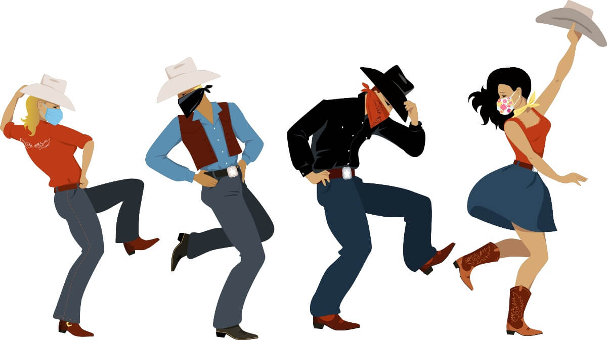 people dancing in cowboy boots cowboy hats and masks