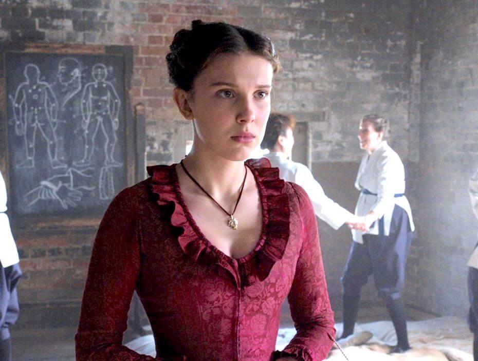 Enola Holmes in red dress