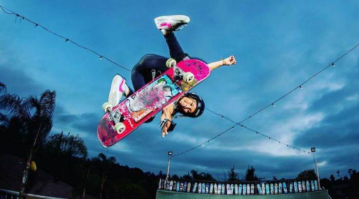 Instagram @skybrown Sky Brown skateboarding on pink board