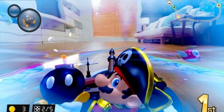 Mario Kart Live: Pirate Mario throwing Bob-omb