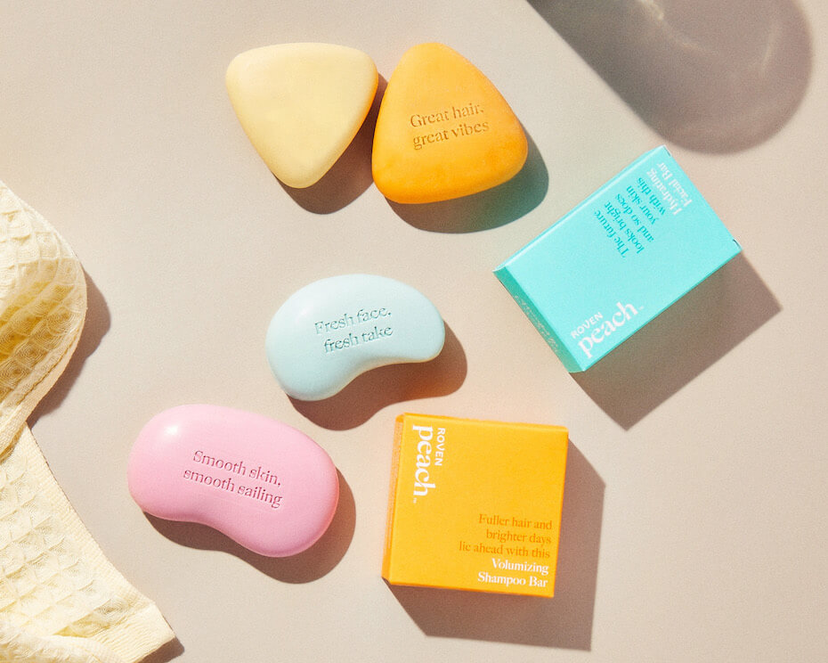 Peach Care soaps on table