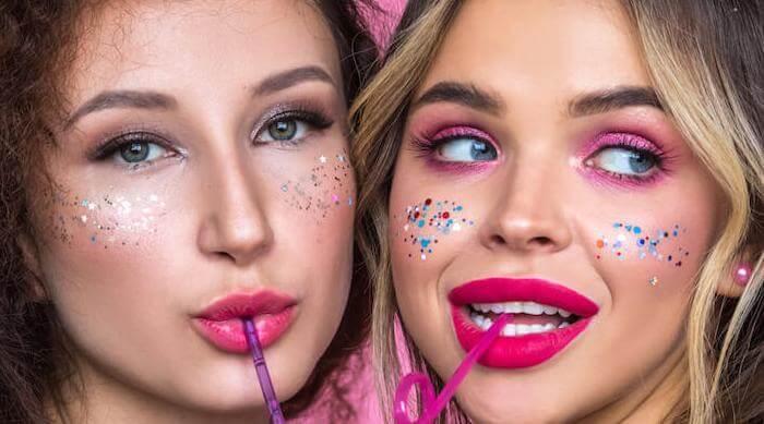 Shutterstock: Girls wearing glitter makeup
