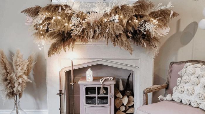 christmas decor garland fireplace