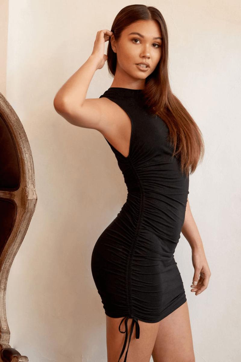 blush mark black dress