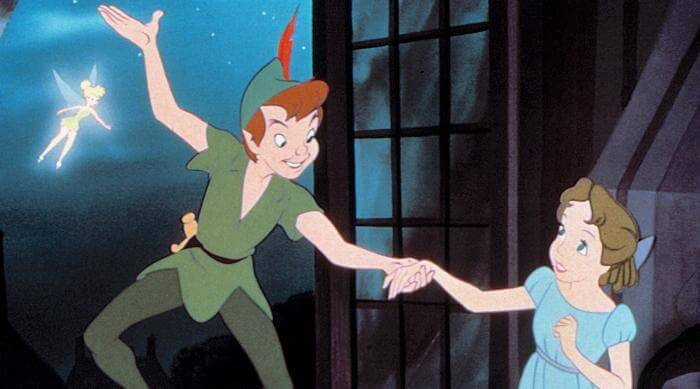 Peter Pan: Peter taking Wendy's hand at window