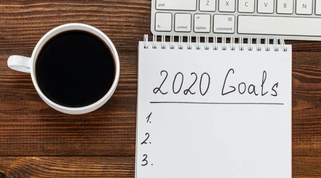 Shutterstock: 2020 goals list with coffee and keyboard