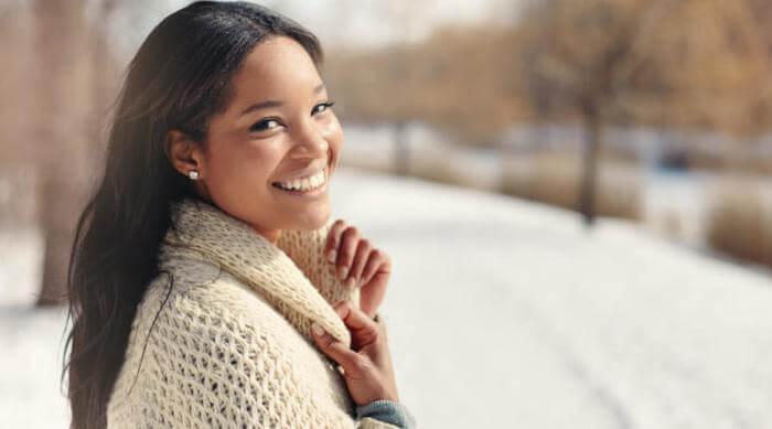 Shutterstock: woman outside in winter