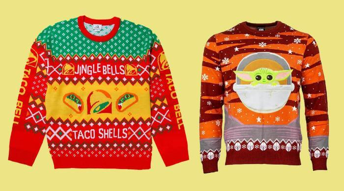 Taco Bell and Baby Yoda ugly christmas sweaters