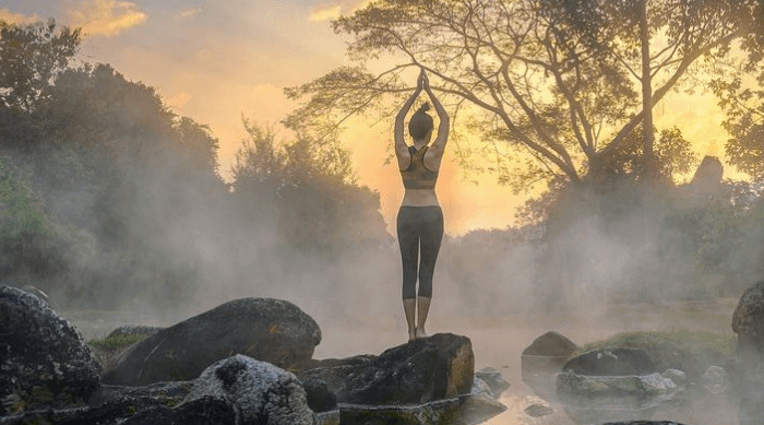 woman yoga nature