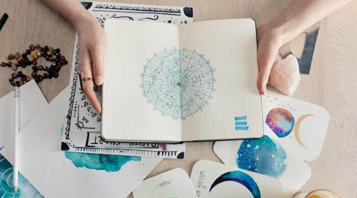 Shutterstock: birth chart drawn in a notebook with water color painted cards of various planets