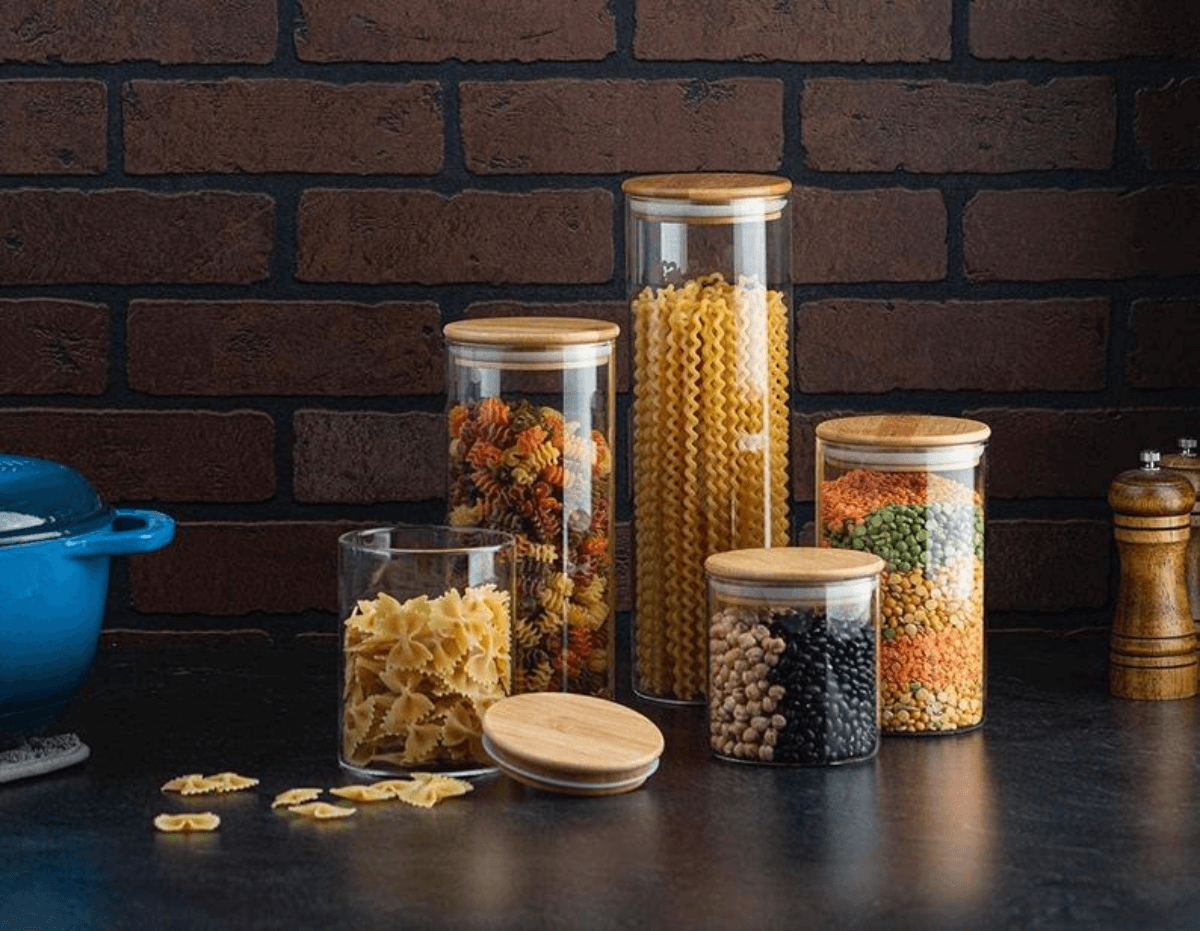 glass canisters bamboo lids kitchen