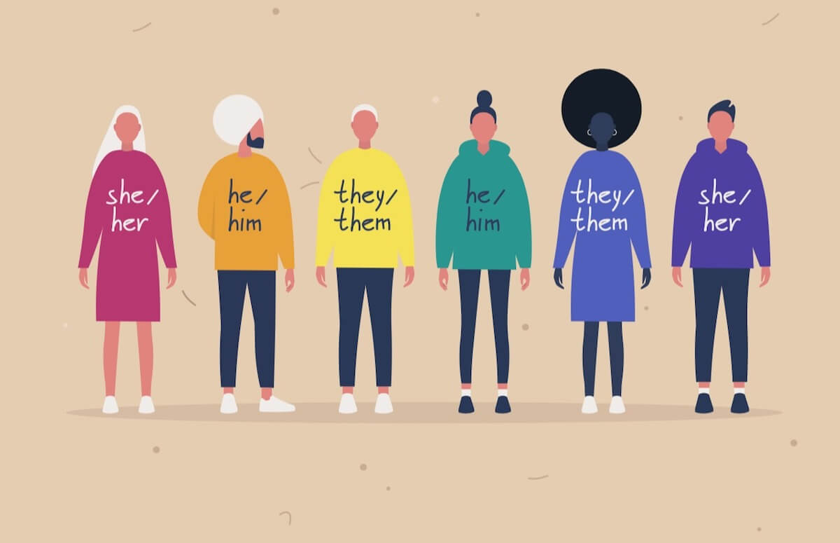 Shutterstock: Cartoon figures with different pronouns