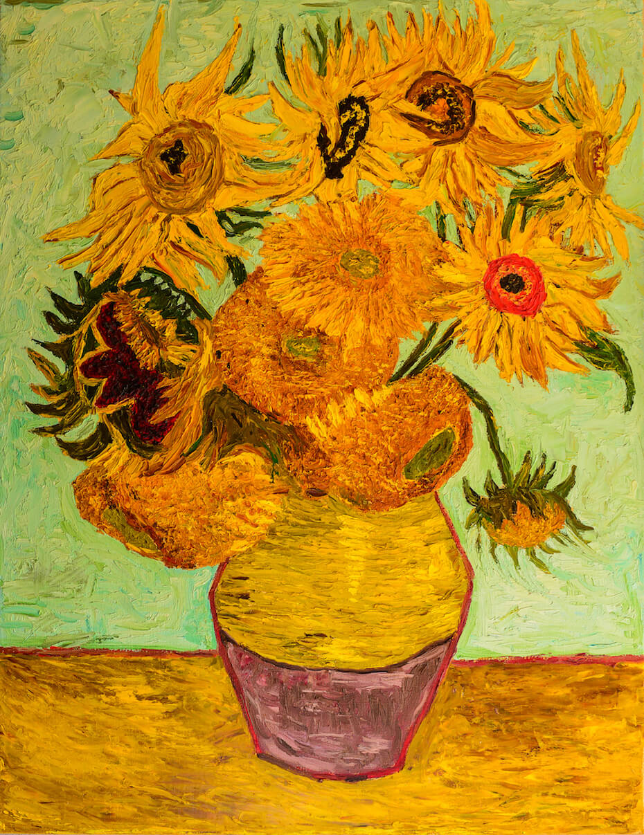 Sunflowers. Beautiful oil painting on canvas. Sunflowers in vase . Based on the painting Gogh
