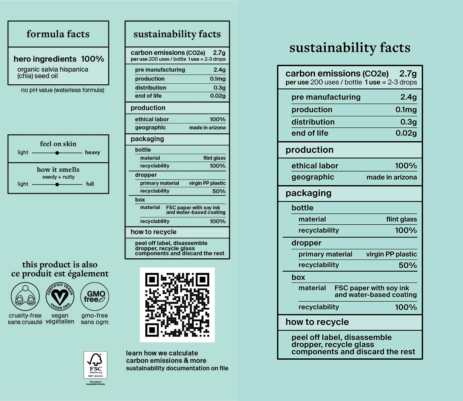Etiquetas de la fórmula de Cocokind's y de los datos de sostenibilidad
