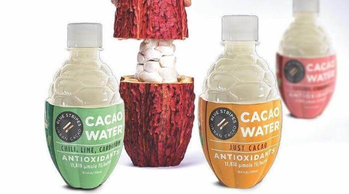 Instagram @bluestripescacao Cacao Water: mixed pack