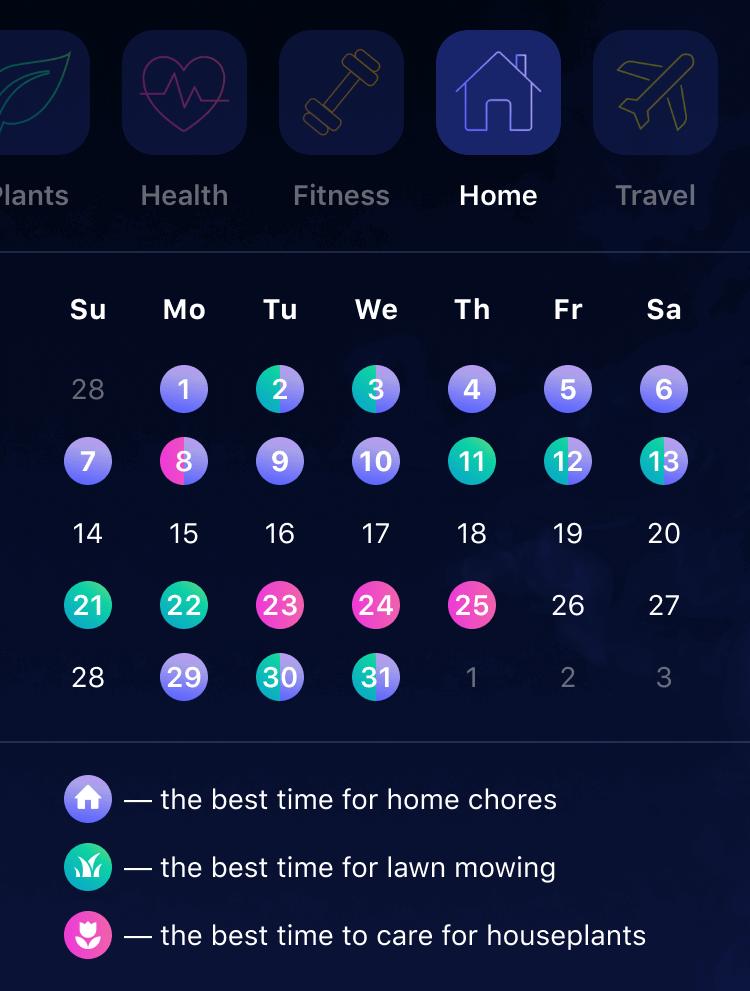Nebula App calendar