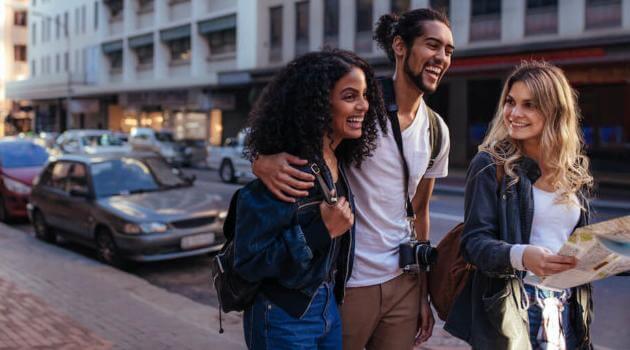 Shutterstock: group of friends walking down street