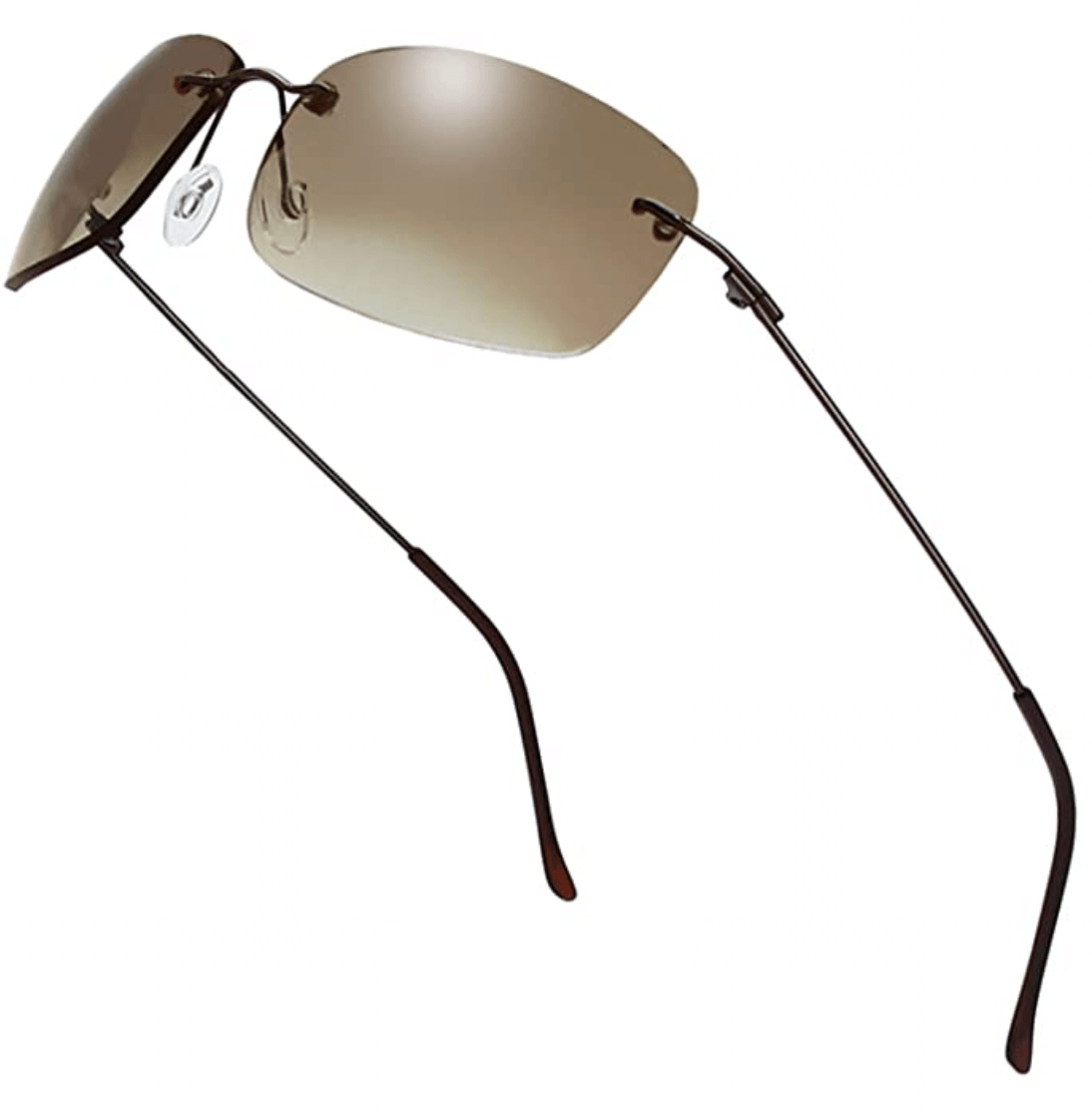brown y2k sunglasses on a white background