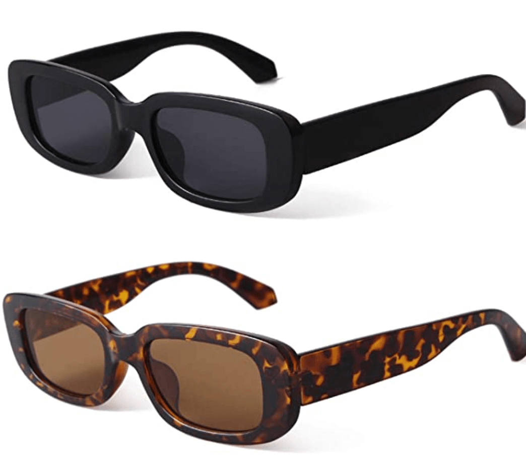 brown and black rectangle sunglasses on a white background