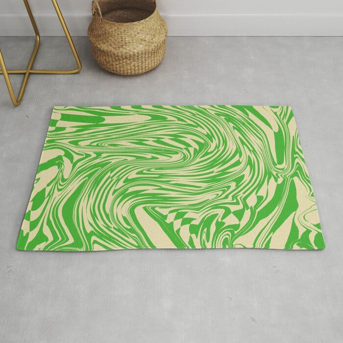 green and white funky print rug
