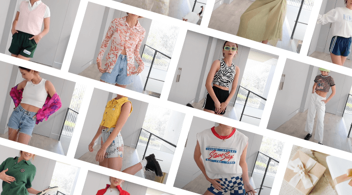 A collage of Emma Chamberlain wearing her summer outfit