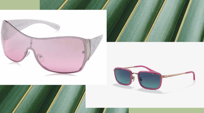 2 pairs of pink sunglasses
