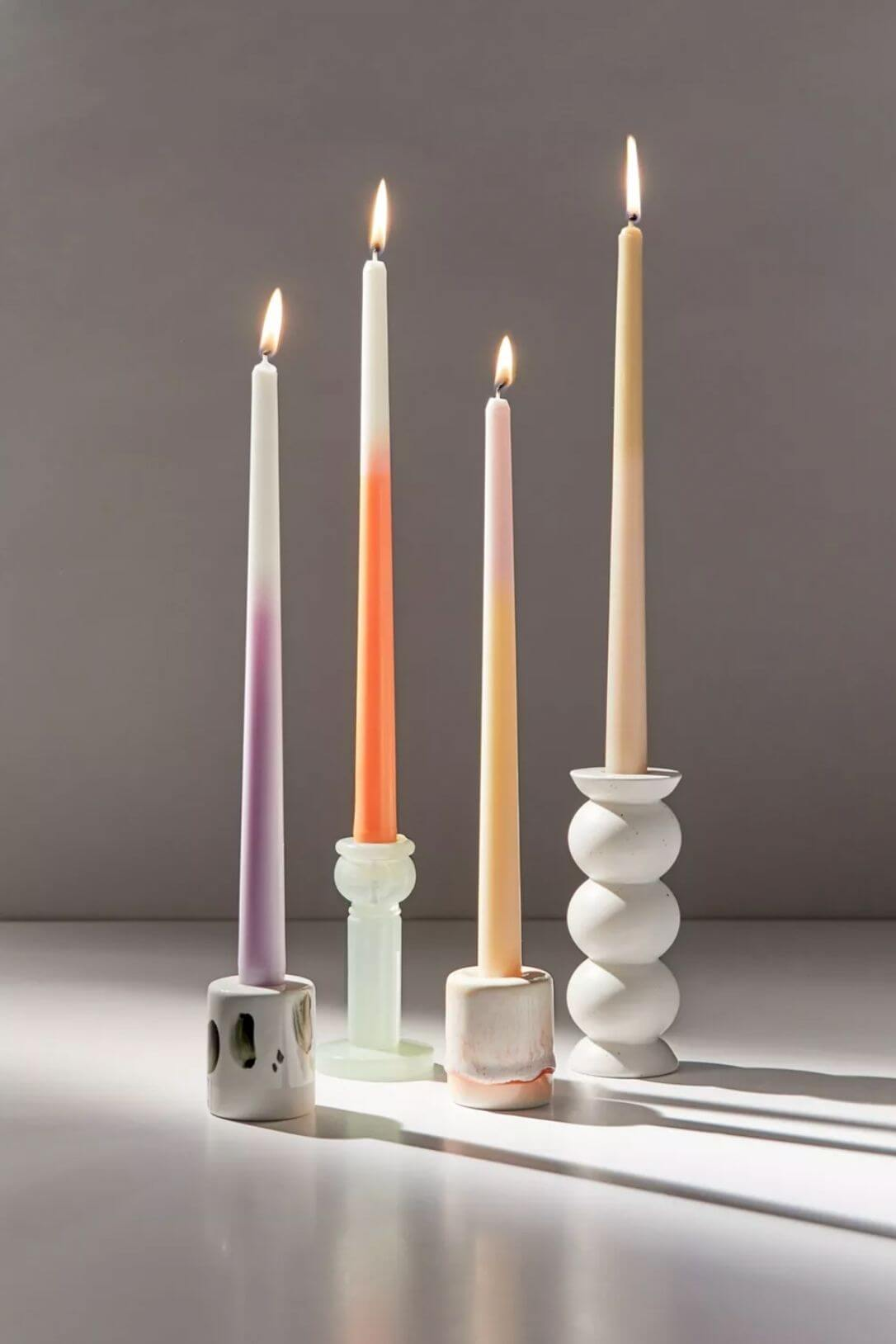 ombre colorful minimalistic candles