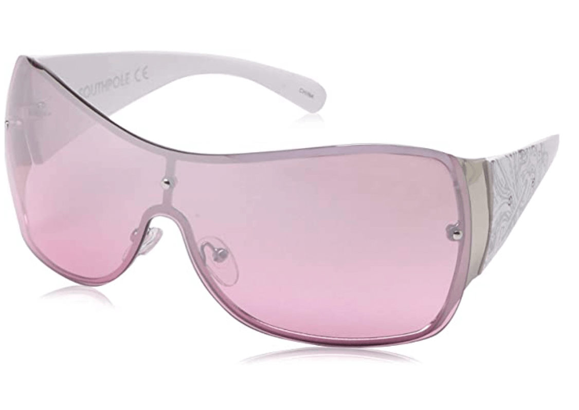 pink y2k sunglasses on a white background