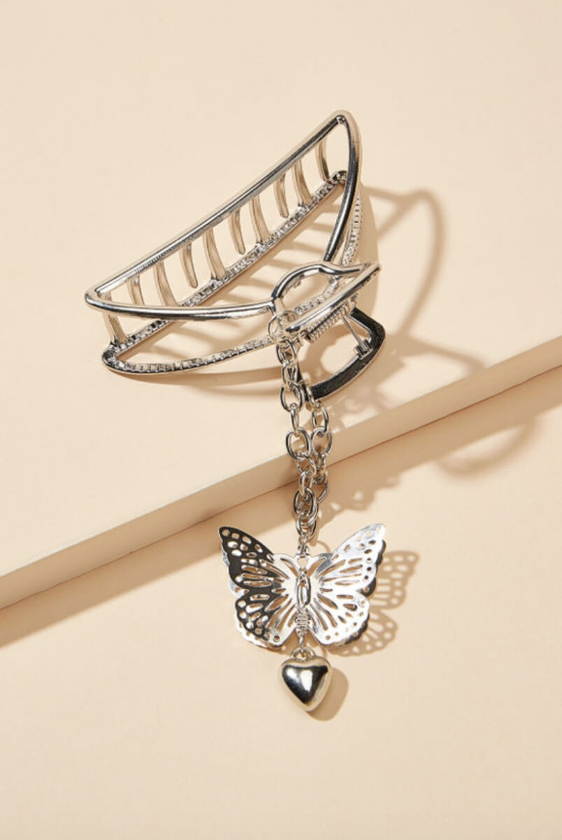 blush mark butterfly claw clip silver