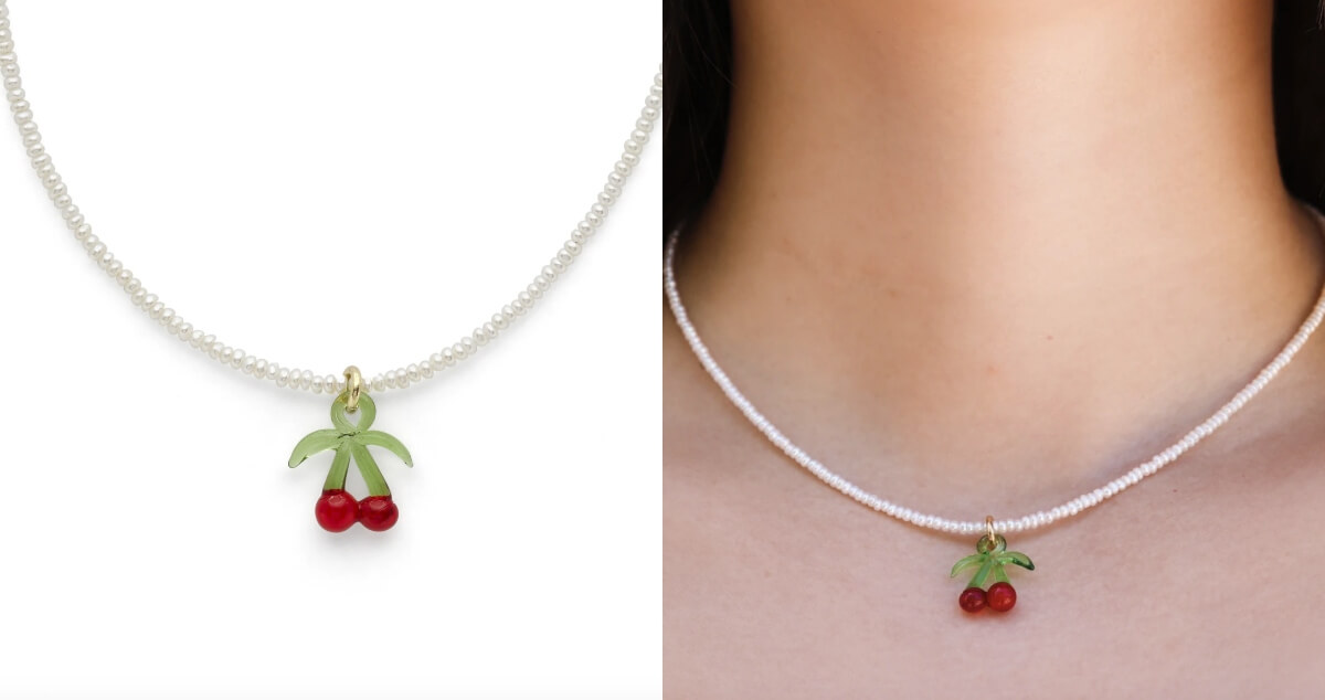 stella and bow cherry pearl necklace