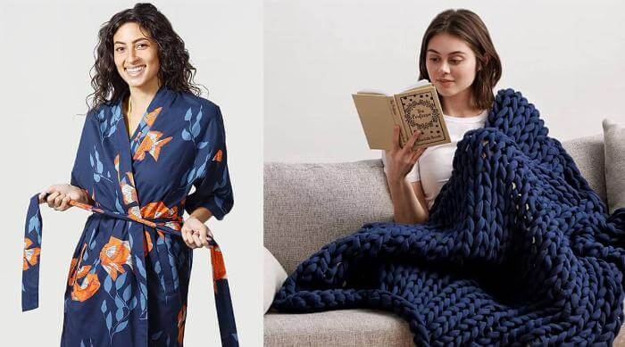 Comfy Mothers Day Gifts 2021: California Cowboy robe and Bearaby napper blanket