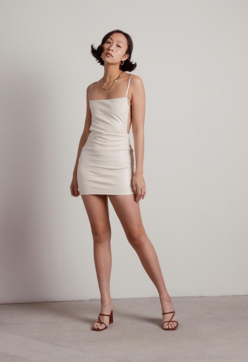 tobi cream pleather dress
