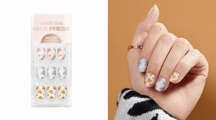 cow print press on nails