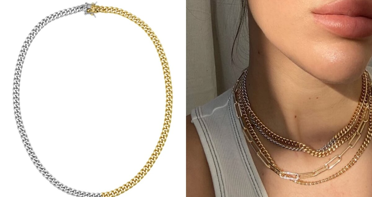 lili claspe silver and gold chain necklace
