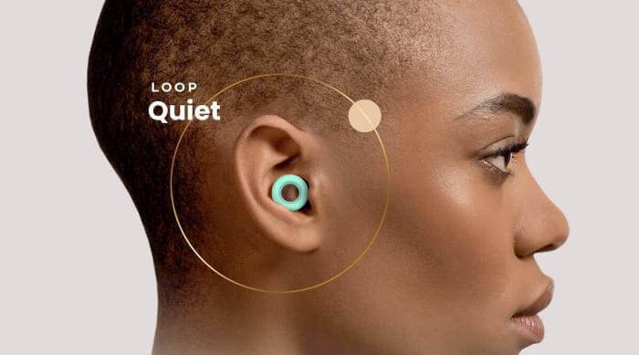 Loop Quiet Magic Mint earplugs in ear