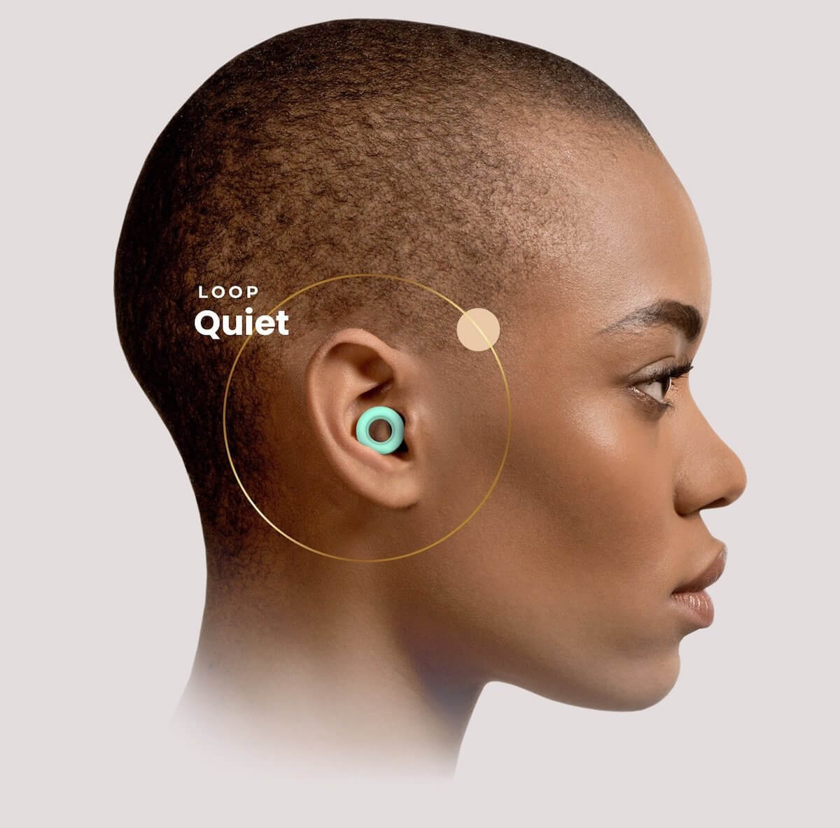 Loop Quiet Magic Mint earplugs in ear