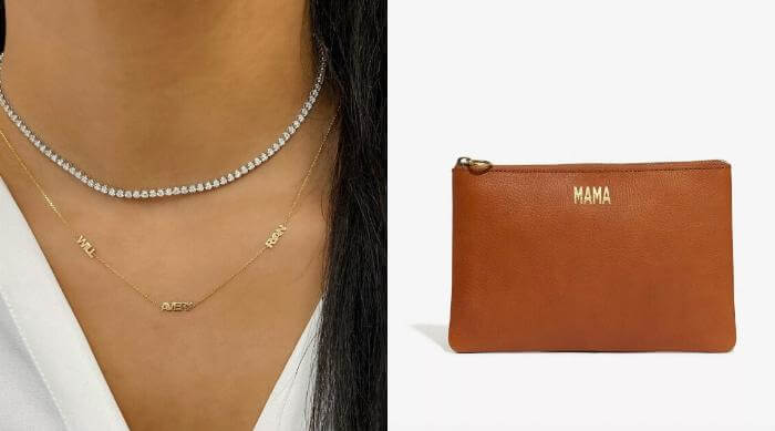 mothers day necklace and clutch