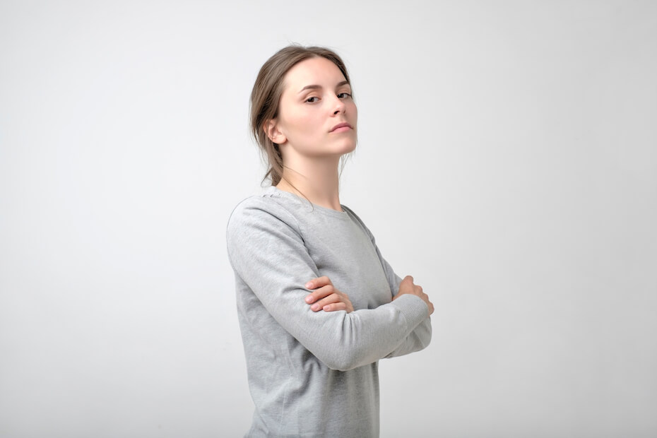 Shutterstock: The young woman portrait with proud and arrogant emotions on face. She is self proud and does not care about other people