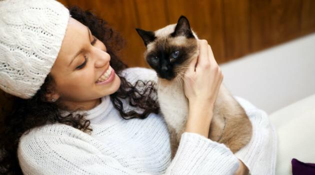 Shutterstock: woman holding cat and smiling