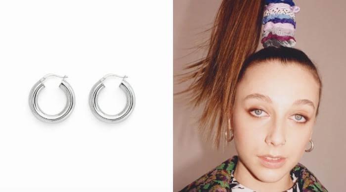 stella and bow silver hoop earrings emma chamberlain