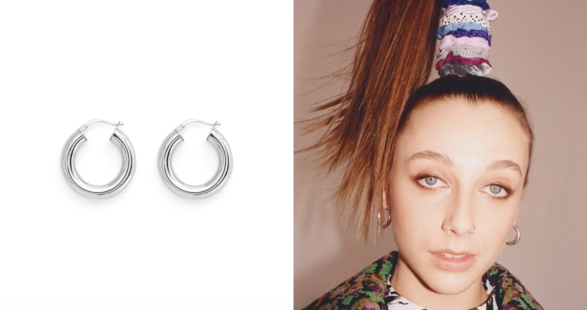 stella and bow silver hoop earrings emma chamberlain