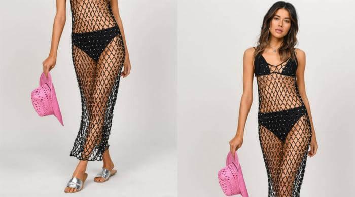 tobi black mesh dress coverup