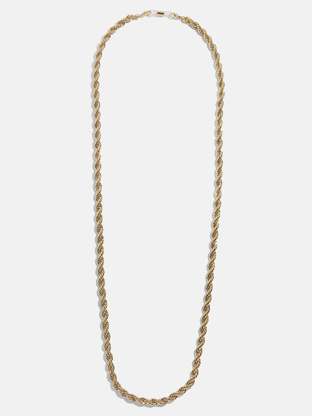 a gold mask chain on a white background