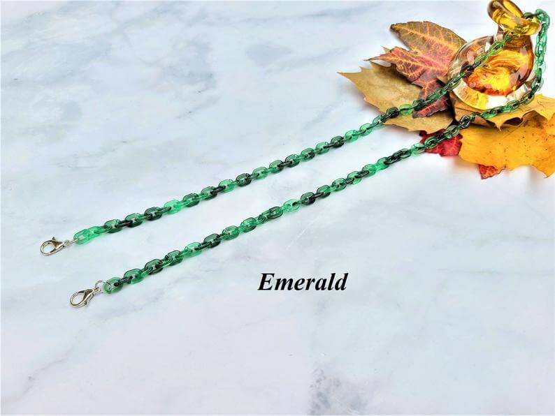 a green mask chain on a white background
