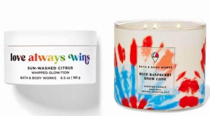 love always wins whipped lotion and blue raspberry snow cone candle bath and body works