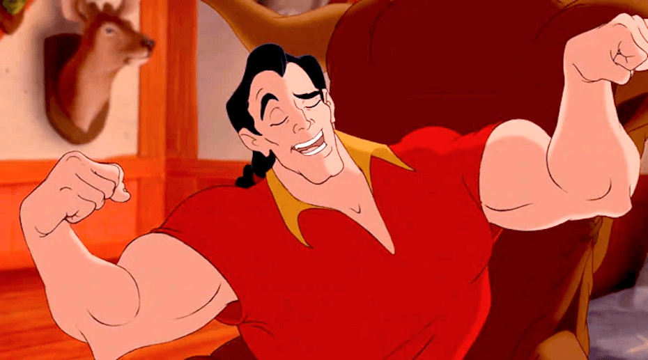 Beauty and the Beast: Gaston flexing muscles